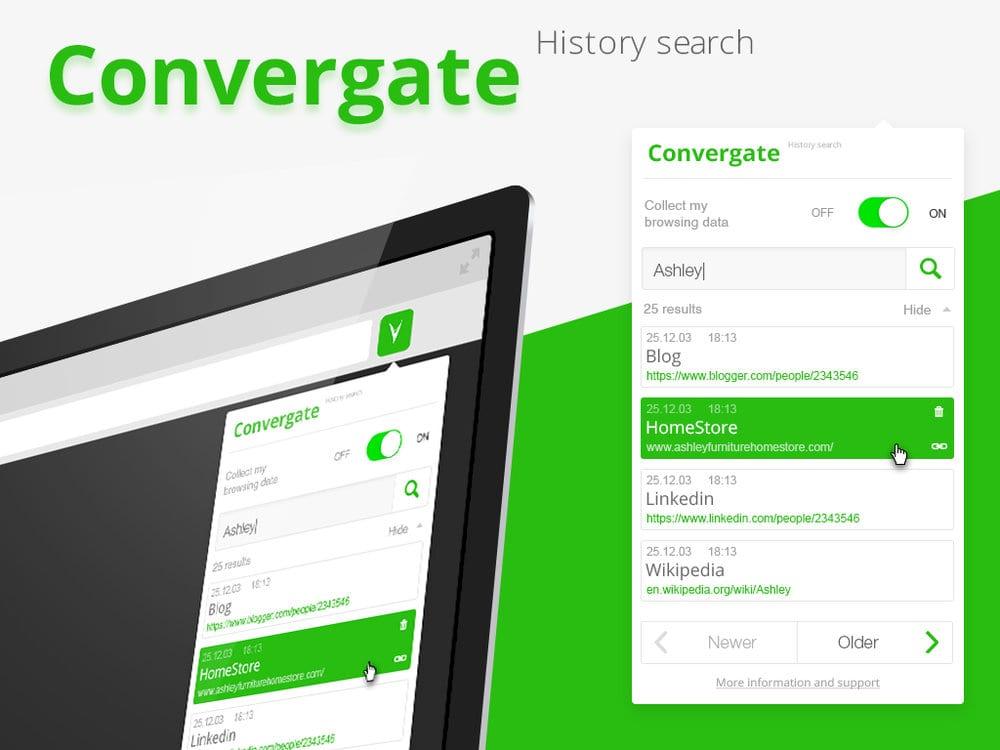 Met de startup Convergate vind je alles terug in je browsergeschiedenis