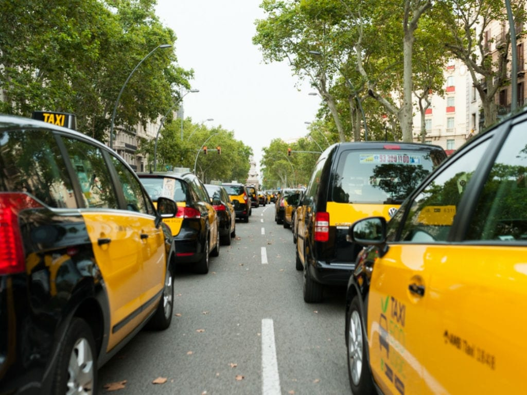 Spain's taxi drivers stage strike against Uber, Cabify and other app-based taxi-hailing services